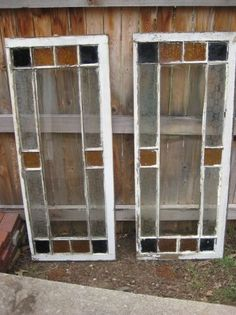 2 old stained glass house windows