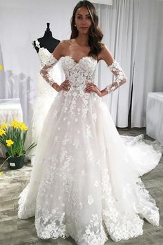 Buy A Line Long Sleeves Ivory Lace Appliques Beads Sweetheart Long Wedding Dresses uk in uk.Shop our beautiful collection of unique and convertible long Prom dresses from rosepromdress,offers long bridesmaid dresses for women in the UK. Puffy Wedding Dresses, White Bridal Dresses, Sweetheart Wedding Dress, Wedding Dress Sleeves, Cheap Wedding Dress, Boho Wedding Dress, Bridal Gowns, Ivory Wedding, Dress Lace
