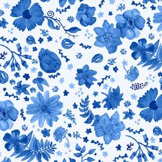 Painted Blue Flowers fabric by angelger28 on Spoonflower - custom fabric