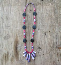 Paper Bead Necklace Eco-friendly Jewelry by EarthChildArt