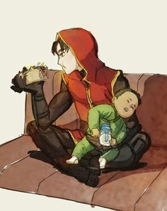I've received an ask a while ago asking if I can make some kind of continuation for the first YJ Jason & Damian pic, where baby Damian wants cuddles when he starts to know Jason better. Batman Robin, Damian Wayne Batman, Batman Comic Art, Gotham Batman, Nightwing, Batgirl, Tim Drake, Robins, Math Comics