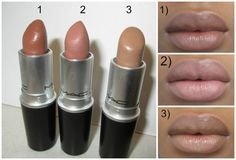 """NUDE"""" lipsticks that work well for WOMEN OF COLOUR. All three look beautiful paired with Chestnut lipliner or Cork lipliner. 1) MAC TOUCH 2) MAC SPIRIT 3) FRESHBREW"""