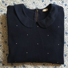 J. Crew Factory Peter Pan Collar Cute 3/4 sleeve Peter Pan collar shirt. Zip back detailing and cotton material. Worn a few times in great shape. J. Crew Tops Blouses