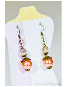 Long dangle pink pearl earrings pierced by ClairesLegacyJewelry, $12.95