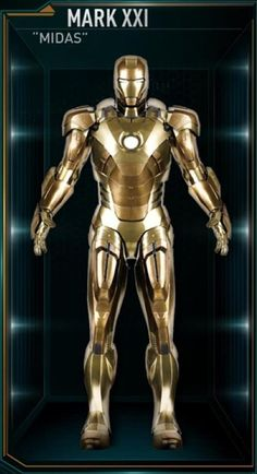 The Midas was the twenty-first Iron Man suit created by Tony Stark, and one of the many armors he developed after the battle for New York against Loki and the Chitauri. The attack had left him with the feeling that the world couldn't be safe for long, and that he needed to build more suits until the next time Earth was in danger. The Midas suit was among those summoned by Stark to battle Extremis-enhanced soldiers assisting Aldrich Killian's plot. It was controlled at the time by Stark's...