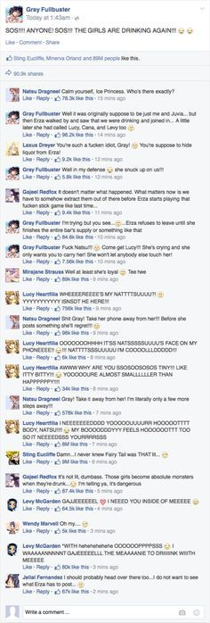 """ftdaguild: """"SOS!!! THE LADIES OF FAIRY TAIL ARE DRINKING YET AGAIN… """" May the men's soul Rest In Peace…."""