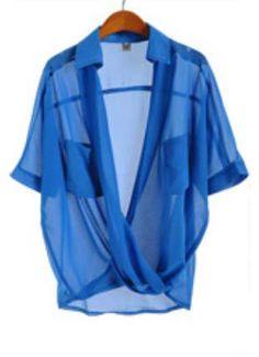 Blue Short Sleeve Sheer Pockets Chiffon Blouse US$31.15