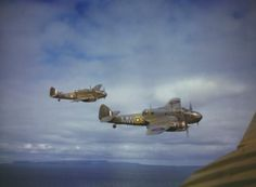 Bristol Beauforts - heavy fighters - (N1173/MW-E & AW242/MW-M) of 217 Squadron, Royal Air Force, patrolling the British coast near St Eval, Cornwall, England - January 1942