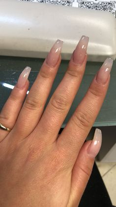 Basic Bitch Pink Clear Nails, Clear Acrylic Nails, Simple Acrylic Nails, Pink Acrylic Nails, Clear Nail Designs, Chrome Nails Designs, Different Nail Designs, Aycrlic Nails, Hot Nails
