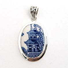 Broken China Jewelry Churchill Blue Willow Pagoda by vbellejewelry