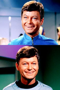 DeForest Kelley as Dr. Leonard McCoy.I don't like many men; when I do they're generally young. But oh boy am I a sucker for those big blue eyes.