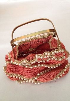 Gorgeous Gold Threaded Embroidered Bead Bag With Gold Metal Handle Vtg #EveningBag