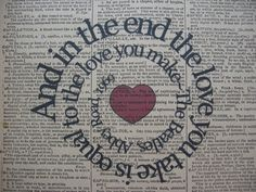 The End- The Beatles- Song Lyric In Spiral On Vintage Dictionary Book Page- Art Print