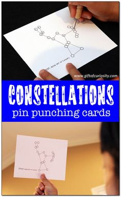 Constellations Pin Punching Cards set featuring 23 constellations from our night sky. Kids learn about the constellations and develop their pencil grip with this Montessori inspired activity. || Gift of Curiosity