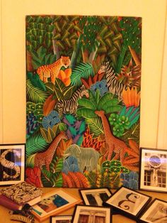 Animals hand painted on canvas by an unknown Haitian artist