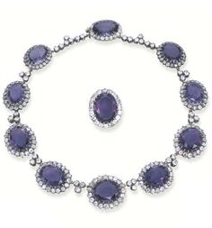 AN ANTIQUE AMETHYST AND DIAMOND NECKLACE AND BROOCH, BY BOUCHERON. Designed as ten slightly graduated oval-cut amethyst and old-cut diamond clusters with trefoil diamond spacers, matching cluster brooch en suite, mounted in silver and gold, circa 1880, 41.6 cm. long, with French assay mark for gold and maker's mark. #Boucheron #antique #necklace #brooch