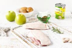 Kaczka pieczona z jabłkami na puree z zielonego groszku : Warzywne Inspiracje