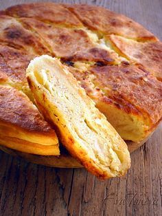 Tutmanik - traditional Bulgarian breakfast of yeast dough, butter and cheese