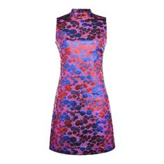 SheIn(sheinside) Multicolor Collar Jacquard Shift Dress (78 AUD) ❤ liked on Polyvore featuring dresses, multicolor, sleeveless dress, long-sleeve shift dresses, no sleeve dress, multi color dress and multi-color dress