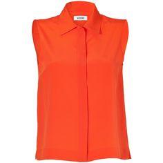 MOSCHINO Bright Orange Sleeveless Silk Top ($505) ❤ liked on Polyvore