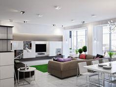 Neutral open plan living room