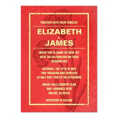 Rustic Vintage Red And Gold Wedding Invitations