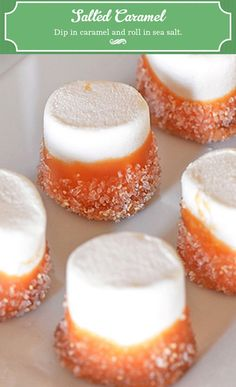 Salted Caramel Marshmallows- Marshmallows + Dip in Caramel (or chocolate?) + Dip into a Dash of Sea Salt! Simple treat for all year long, especially great during holidays and perfect with hot cocoa or coffee! Just Desserts, Delicious Desserts, Dessert Recipes, Yummy Food, Yummy Treats, Sweet Treats, Tapas, How Sweet Eats, Christmas Baking
