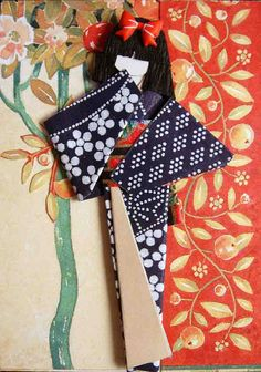 ATC with hand-made Japanese paper doll. Traded to Margoartist.    Materials: Pieces of old greeting cards; kimono (indigo washi); obi (yuzen washi); sticker.     How to find information about gardening?