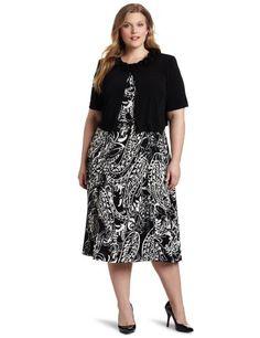 Jessica Howard Women's Plus-Size Ditsy Jacket Dress, Blac...