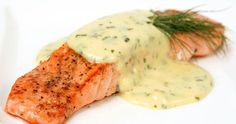 Pinning for the dill sauce. *Roasted Salmon with Dill Sauce Savanna: delicious and super easy! Just warmed it up before serving Sauce Recipes, Fish Recipes, Seafood Recipes, Cooking Recipes, Healthy Recipes, Cooking 101, Recipes Dinner, Delicious Recipes, Sauces