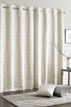 Buy Collection Luxe Opulent Geo Jacquard Eyelet Curtains from the Next UK online shop Modern Curtains, Curtains With Blinds, Blackout Blinds, Next Uk, Uk Online, Living Spaces, Geo, Prints, Snug