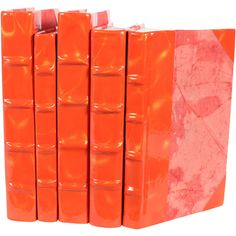 Patent Leather Prismatic Orange & Gold Book Set of 5 ($196) ❤ liked on Polyvore featuring home, home decor, stationery, books, decor, filler and backgrounds