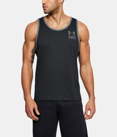 Men's UA Stacked Left Chest Tank, Black , undefined Athletic Gear, Ua, Under Armour, Tank Man, Mens Tops, T Shirt, Shopping, Black, Fashion