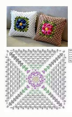 23 Super Ideas For Crochet Granny Square Blanket Cushion Covers Crochet Cushion Cover, Crochet Pillow Pattern, Granny Square Crochet Pattern, Crochet Flower Patterns, Crochet Squares, Crochet Granny, Filet Crochet, Crochet Motif, Crochet Doilies