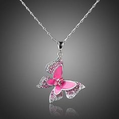 Sparkling White Gold Color Stellux Austrian Crystal Pink Butterfly Pendant Necklace Metal Type: Zinc AlloyChain Type: Snake ChainPendant Size: cm inch)M Sunflower Jewelry, Sunflower Necklace, Butterfly Jewelry, Butterfly Pendant, Butterfly Necklace, Pink Butterfly, Floral Necklace, Silver Pendant Necklace, Crystal Necklace