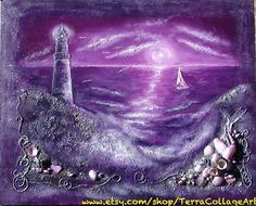 16x20 in Deep Purple Night by the Ocean by TerraCollageArt on Etsy, $75.00