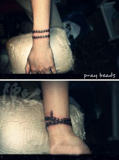 pray beads bracelet tattoo shown from two angles #pray #beads