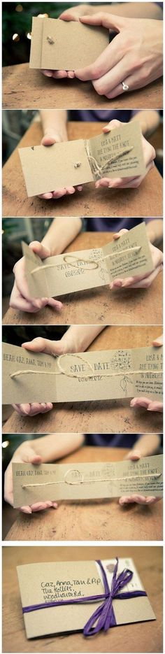 DIY Tie the Knot Save the Dates / http://www.deerpearlflowers.com/tie-the-knot-wedding-ideas/