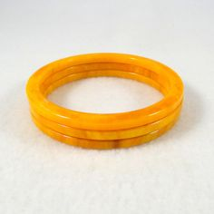 Bakelite Marbled Butterscotch End of Day Spacer Bangles. Set of Three. Genuine Bakelite