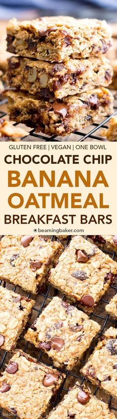 Gluten Free Banana Chocolate Chip Oatmeal Breakfast Bars (V, GF) a one bowl recipe for simply delicious banana breakfast bars packed with your favorites for a good morning! Vegan GlutenFree DairyF is part of Oatmeal breakfast bars - Oatmeal Breakfast Bars, Banana Breakfast, Vegan Breakfast, Free Breakfast, Breakfast Cookies, Oatmeal Bars, Vegan Oatmeal, Granola Bars, Fodmap Breakfast