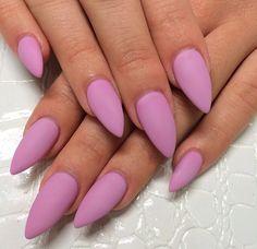 Almond matte pink nails