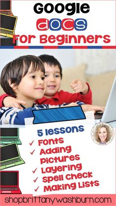 5 lessons for any beginner Google Docs user. Adding pictures, font and text, layering, spell check, and making lists. By the end of the 5 lessons students should be able to open a blank Docs template and create something original. Elementary Computer Lab, Computer Lab Lessons, Technology Lessons, Teaching Technology, Computer Class, Computer Teacher, Elementary Schools, Educational Websites, Educational Technology