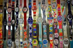 """Swatch watches.  I used to wear 5 at a time back in the late 80""""s.  3 on one arm, 2 on the other.  My friends Grandfather called me 5 o'clock. none of my Swatches had numbers on them"""