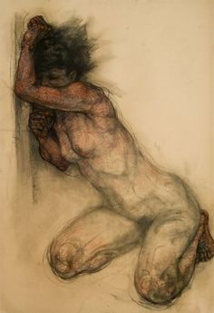 red-lipstick:  Sylvie Guillot (b. 1972, Paris, France) - Traped     Drawings: Charcoal, Pastels on Canson Paper