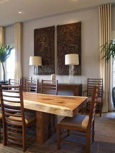 Mesa de madera con beta natural #decor                                                                                                                                                                                 Más