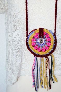 FREE SHIPPING - Festival Pouch with Fringe and Button - Coin Purse, Medicine Bag, Wallet, Necklace - Purple, Pink, Gold Yellow, Maroon. $18.00, via Etsy.