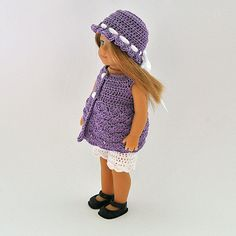"""Crocheted Doll Clothes - Dress, Shorts and Hat for your 6"""" American Mini Girl Doll or similar doll."""