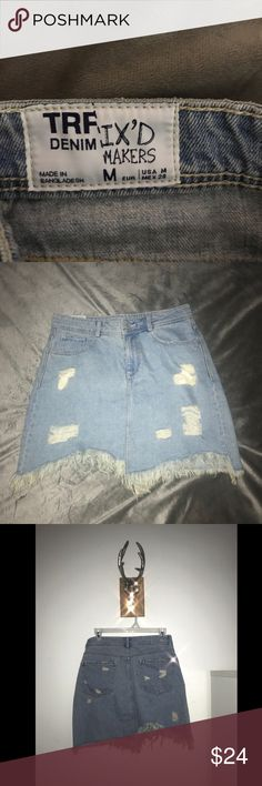12afe8d4 Light Blue Denim distressed skirt Zara TRF Denim IXD Makers, Denim  distressed skirt Cotton Garment Care Tag included Not used with no tag Zara  Skirts ...