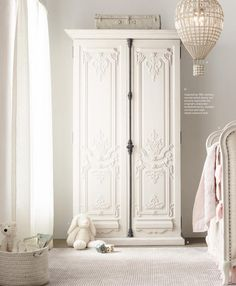 Love this french inspired armoire Polka Dot Fabric, Polka Dots, Slipcovers, Window Treatments, Armoire, Upholstery, Sweet Home, Nursery, French