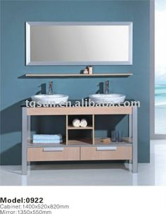 55.5 Inch Double Sink Bathroom Vanity with Matching MirrorDouble Ceramic Basin Solid Wood Silver Mirror ISO9001:2000/CE